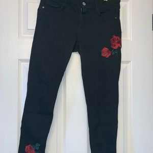 Arizona Black Ankle Jean with Embroidered Roses